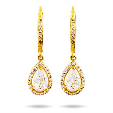Gold Pearcut Halo CZ Dangling Earrings | Eve's Addiction®