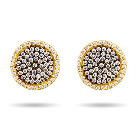 Round Pave Gold and Black CZ Stud Earrings | Eve's Addiction®