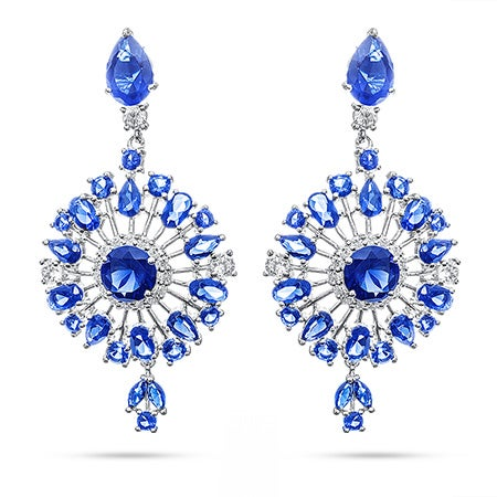 Sapphire Starburst CZ Drop Earrings | Eve's Addiction®