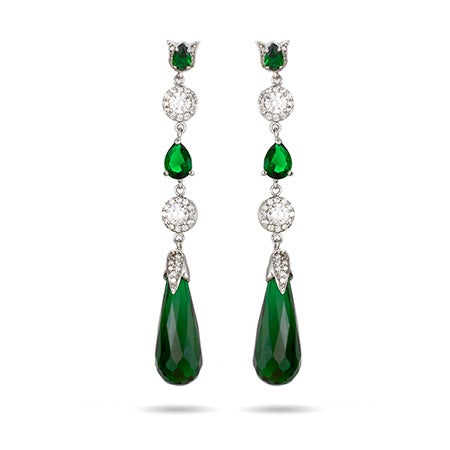 Long Emerald CZ Peardrop Earrings | Eve's Addiction®