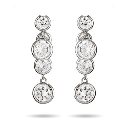 Inside Out Bezel CZ Drop Earrings | Eve's Addiction®