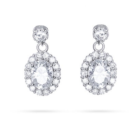 Sparkling Halo Dangle CZ Earrings | Eve's Addiction®