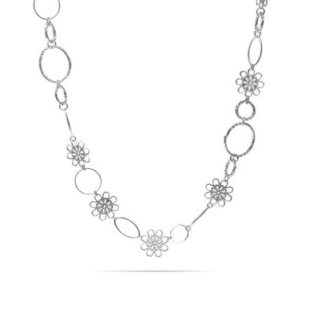 Long Filigree Design Flowers & Oval Links Necklace