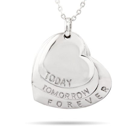 Today, Tomorrow, Forever Engraved Hearts Pendant