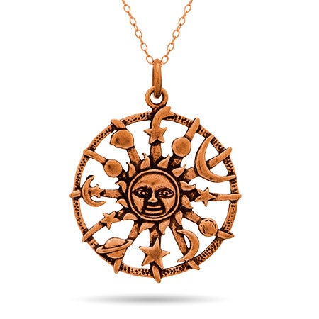 Aztec Sun Bronze Pendant Necklace