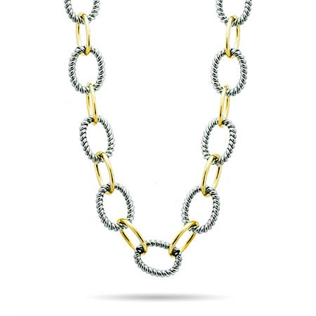 """Designer Inspired 24"""" Oval Link Two Tone Statement Necklace"""