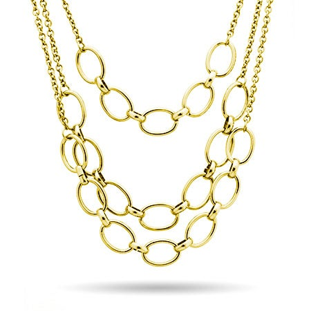 Three Layer Gold Chain Statement Necklace