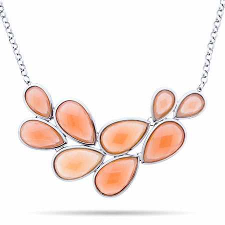 Coral Pear Cluster Bib Necklace   Eve's Addiction®