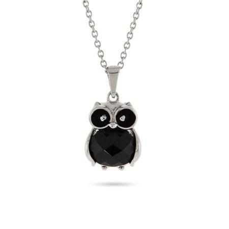 Black Onyx CZ Petite Owl Pendant