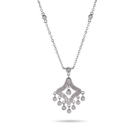 CZ Dangling Chandelier Necklace with Bezel Chain