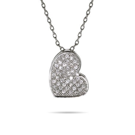 Glistening Micro Pave CZ Heart Pendant