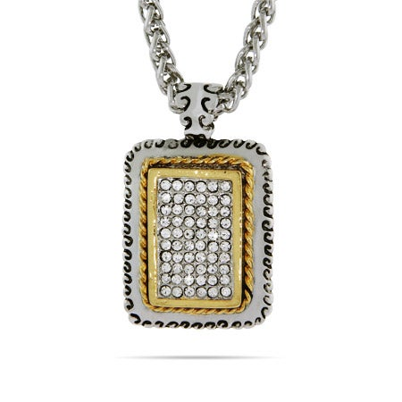 Designer Inspired Pave Rectangle Tag with Gold Edging