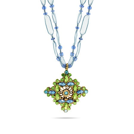 Antique Ornate Style Green & Blue CZ Pendant