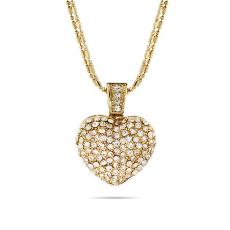 Multi Strand Sparkling Gold Pave Heart Necklace