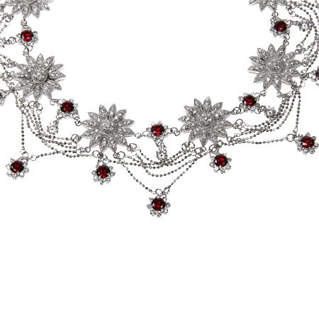 Garnet CZ Dazzling Fancy Sunflower Necklace