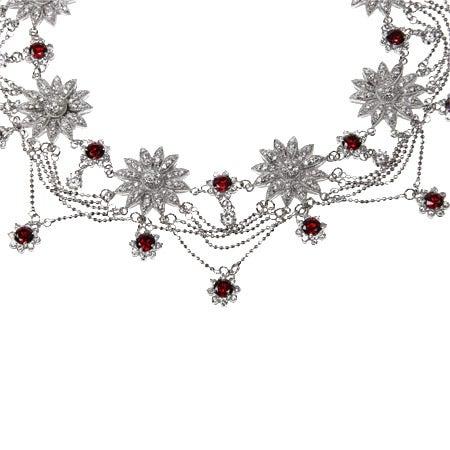 Garnet CZ Dazzling Fancy Sunflower Necklace