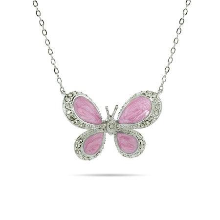 Pretty Pink Enamel CZ Butterfly Pendant
