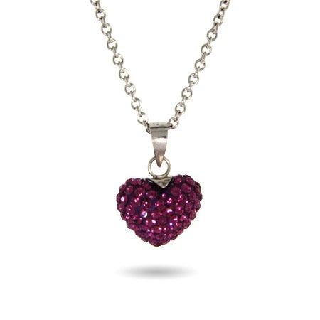 Amethyst Swarovski Crystal Purple Heart Pendant