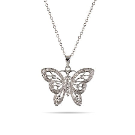 Vintage Filigree CZ Butterfly Necklace