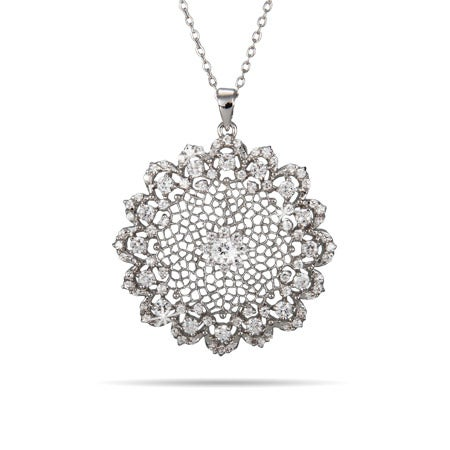 Vintage Woven Filigree Flower CZ Necklace