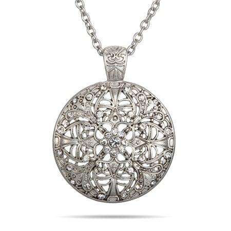 Round Vintage Style CZ Medallion Necklace