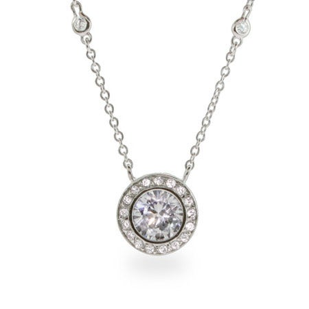 CZ Studded Chain Bezel CZ Necklace | Eve's Addiction