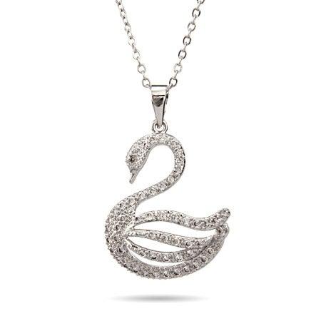 White Swan CZ Necklace