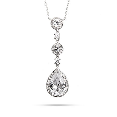 Pearcut Drop CZ Cocktail Necklace