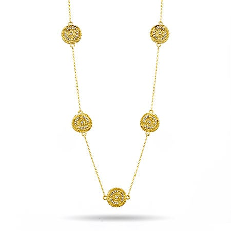 "Designer Inspired 36"" Gold Disc CZ Necklace"