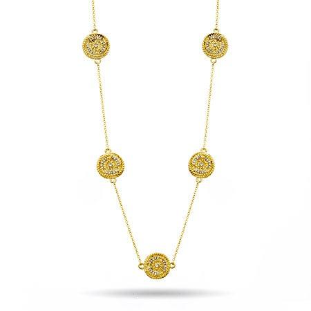 """Designer Inspired 36"""" Gold Disc CZ Necklace"""