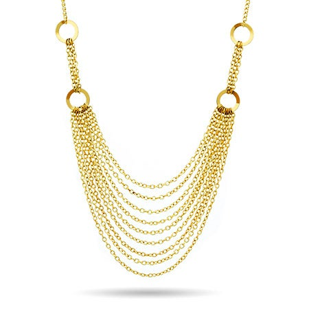 Layered Gold Chain Bib Statement Necklace