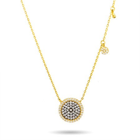 Designer Inspired Round Pave Gold and Black CZ Necklace