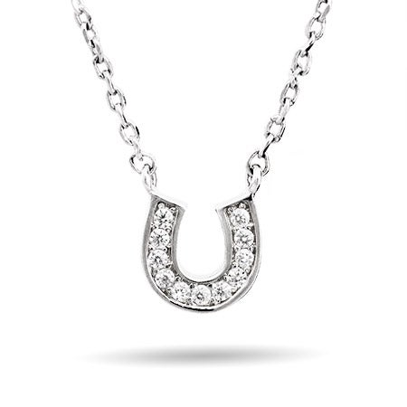 Petite CZ Horseshoe Necklace