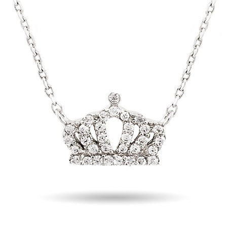 Petite CZ Crown Necklace