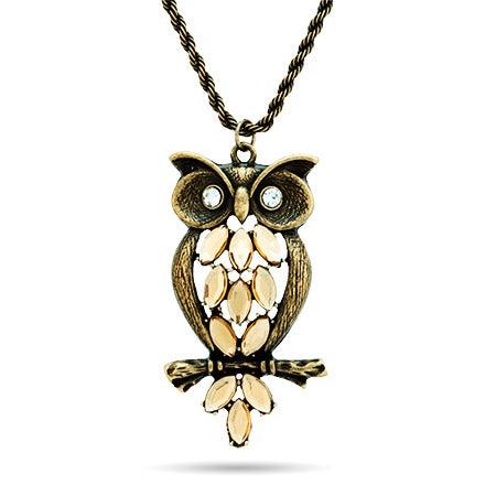 Antiqued Jeweled Owl Necklace | Eve's Addiction