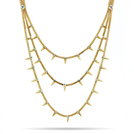 Spike and CZ Layered Gold Statement Necklace