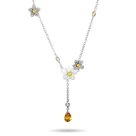 anary CZ Flower Y Necklace