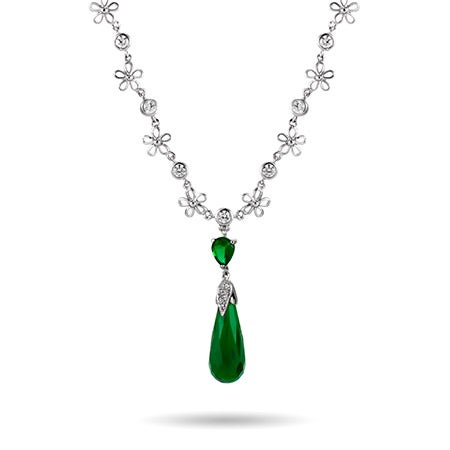 Glamorous Long Emerald CZ Peardrop Y Necklace