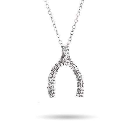 Pave CZ Wishbone Necklace