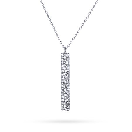 Designer Style Pave CZ Bar Drop Necklace