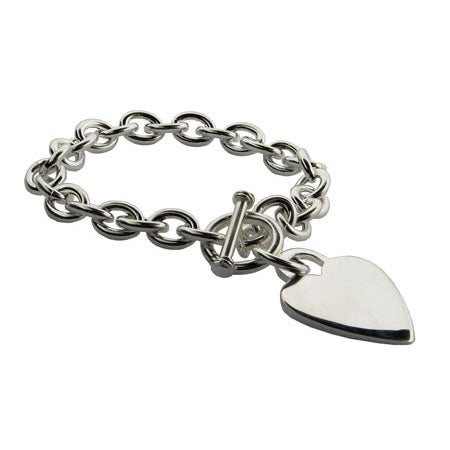 Heavy Gauge Heart Tag Bracelet