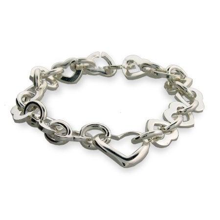 Designer Style Silver Heart Link Bracelet