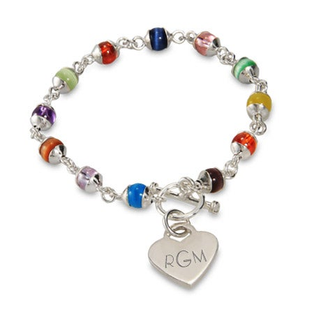 Colorful Cats Eye and Sterling Silver Heart Tag Bracelet | Eve's Addiction®