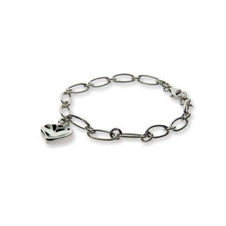 Designer Style Carved Heart Link Bracelet