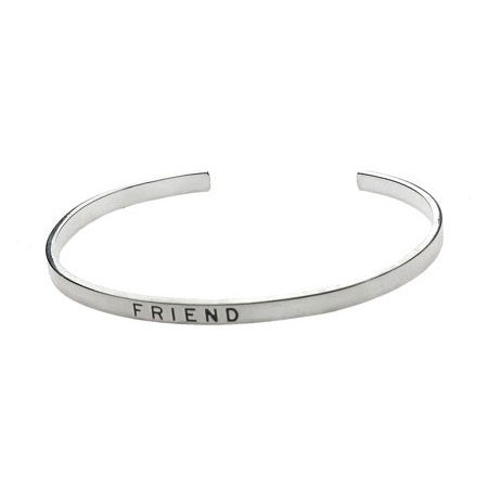 "Silver Friendship Stackable Bracelet with ""Friend"" Engraved"