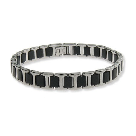 Mens Stainless Steel and Rubber Linked Titan Bracelet | Eve's Addiction®