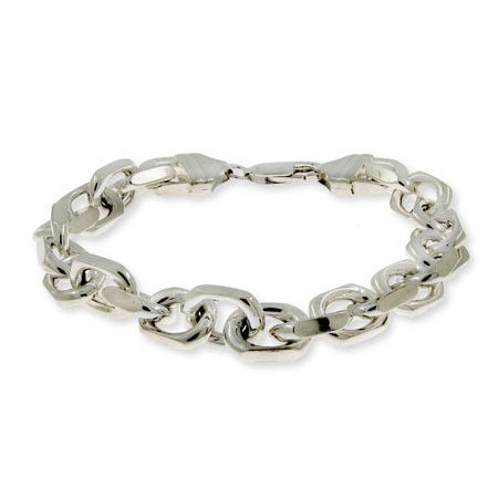 Linked Anchor Chain Men's Silver Bracelet