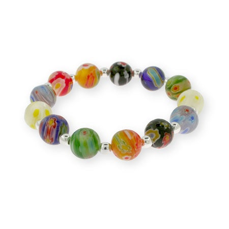 Millefiori Venetian Glass Round Bead Bracelet | Eve's Addiction®