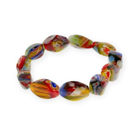 Millefiori Venetian Glass Oval Bead Bracelet | Eve's Addiction®