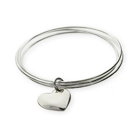 Solid Heart Triple Bangle Bracelet | Eve's Addiction®